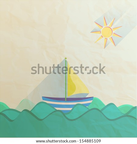 Paper Sailing boat and sun, flat icon - stock vector