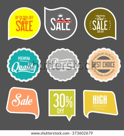 Paper sale stickers collection - stock vector