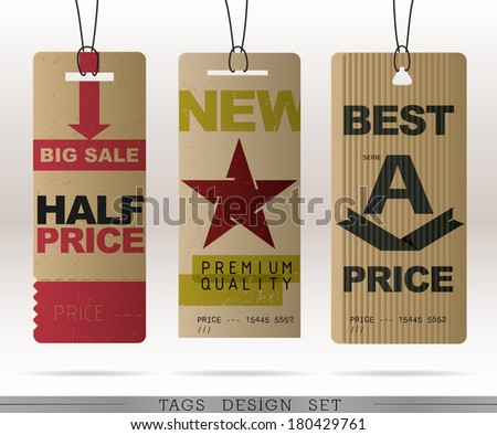 PAPER SALE TAGS COLLECTION & PRICE TAGS COLLECTION  - stock vector