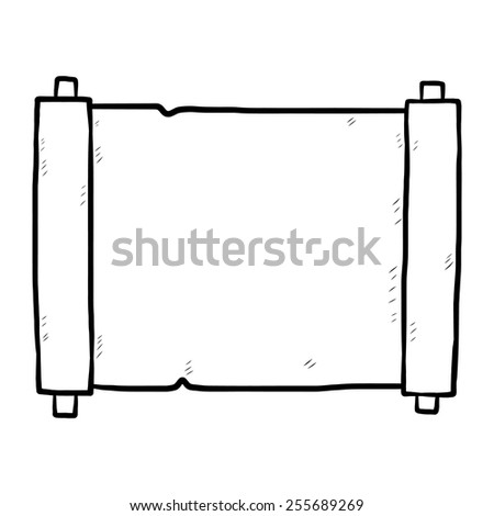 paper scroll / cartoon vector and illustration, black and white, hand drawn, sketch style, isolated on white background. - stock vector