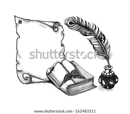 Paper scroll, feather and books in a sketch style. Hand-drawn vector illustration. - stock vector