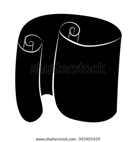 Paper scroll silhouette vector isolated on white background. Empty, blank parchment rolled up scroll, old paper sheet texture illustration. - stock vector