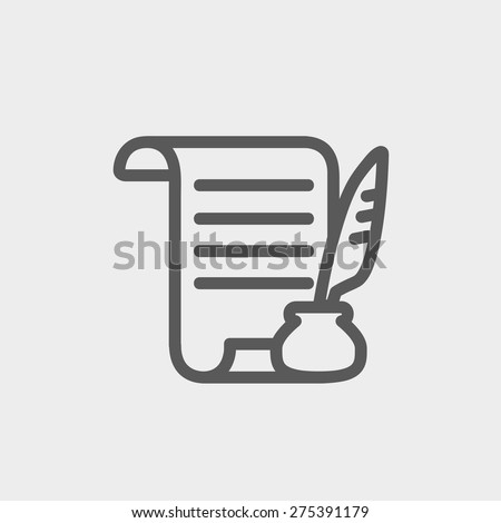 Paper scroll with feather pen icon thin line for web and mobile, modern minimalistic flat design. Vector dark grey icon on light grey background. - stock vector