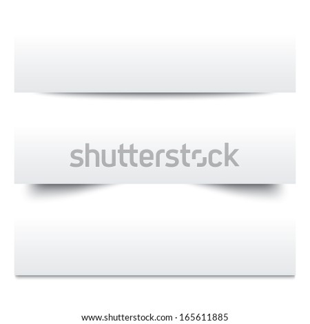 Paper shadows. Collection of white note papers. Paper separators, dividers. Page delimiters. Vector illustration. - stock vector