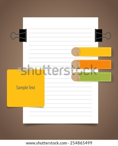 Paper sheet and Cute note papers, Business working elements for web design , mobile applications, social networks. - stock vector
