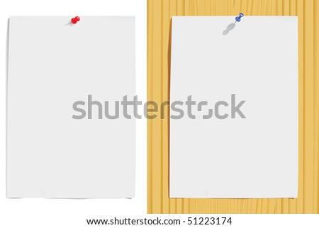 paper sheet and pin on white and wood texture(vector, CMYK) - stock vector