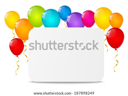 Paper sheet with color balloons - stock vector