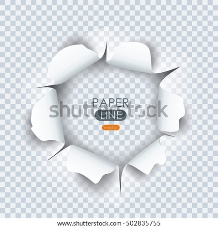 Paper sheet with torn edges paper and ragged hole for your design. Vector illustration.