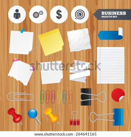 Paper sheets. Office business stickers, pin, clip. Business icons. Human silhouette and aim targer with arrow signs. Dollar currency and gear symbols. Squared, lined pages. Vector - stock vector