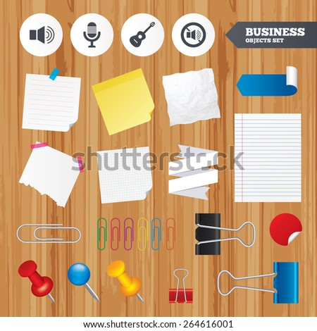 Paper sheets. Office business stickers, pin, clip. Musical elements icons. Microphone and Sound speaker symbols. No Sound and acoustic guitar signs. Squared, lined pages. Vector  - stock vector