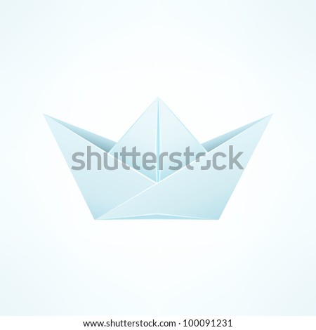 Paper Ship Origami Isolated on White Blue Background. Vector Illustration