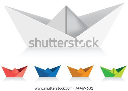 paper ships - stock vector