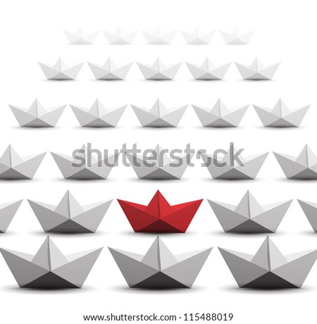 Paper ships isolated on white background - stock vector