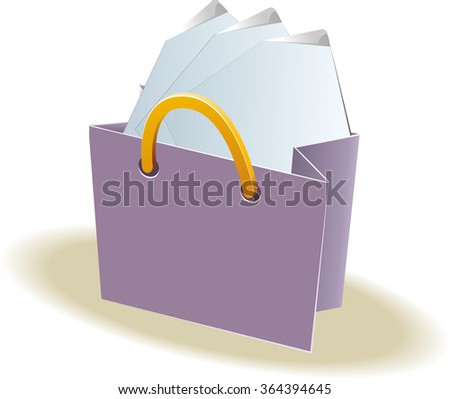 Paper shopping bag. Clear paper sheets inside