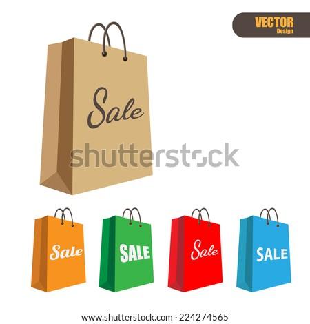 Paper shopping bag,vector - stock vector