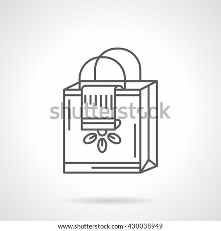 Paper shopping bag with flower print and some cloth. Shopping online theme. Purchase symbol. Flat line style vector icon - stock vector