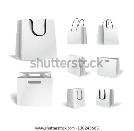 Paper shopping bags isolated on white collection - stock vector