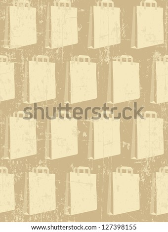 Paper shopping packet on grunge beige background; seamless pattern