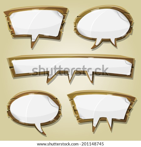 Paper Signs On Wood Speech Bubbles Set Illustration of a set of cartoon paper blank signs on comic wooden speech bubbles, for advertisement messages or game ui graphic design