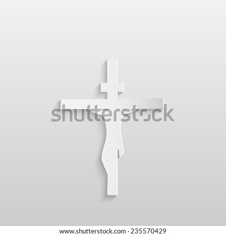 Paper silhouette illustration of Jesus on a cross isolated on a white background. - stock vector