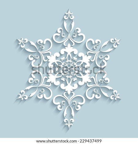 Paper snowflake, vector lace doily, winter decoration, eps10 - stock vector