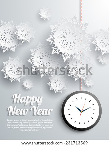 Paper snowflakes Happy New Year text with balls and watch on gray background