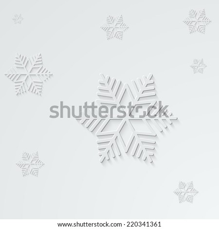 paper snowflakes with shadow on light background - vector post card