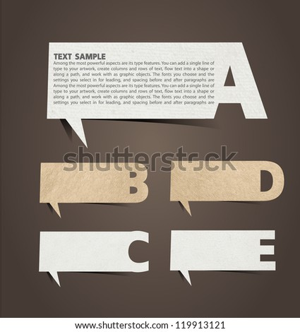 Paper speech bubble presentations with alphabet letters, Vector illustration