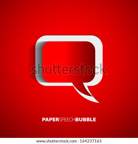 Paper Speech bubble red - Abstract 3D Design - stock vector