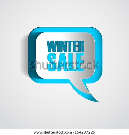 Paper Speech bubble winter sale - Abstract 3D Design - stock vector