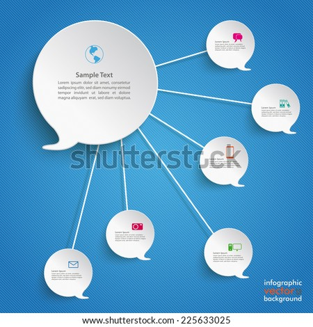 Paper speech bubble with ciccles on the blue background. Eps 10 vector file. - stock vector