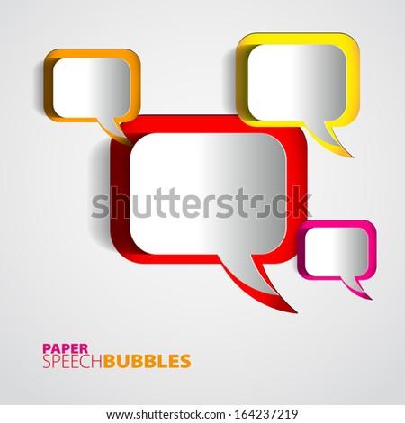 Paper Speech bubbles - Abstract 3D Design - stock vector