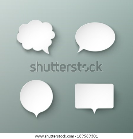 Paper speech bubbles different shapes with the shadows eps10