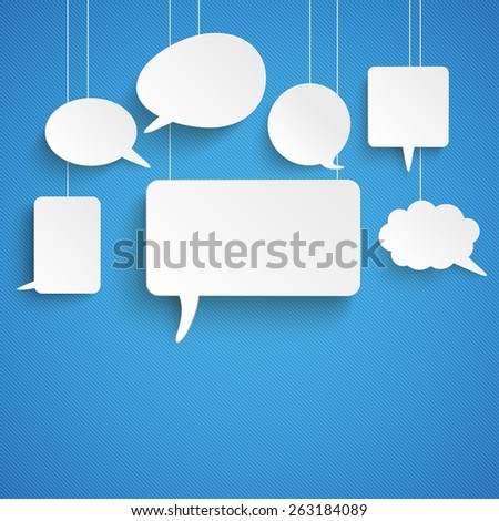 Paper speech bubbles on the blue background. Eps 10 vector file. - stock vector