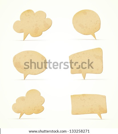 paper speech bubbles set - stock vector
