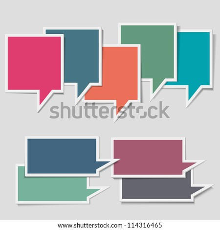 Paper speech bubbles. Vector set - stock vector