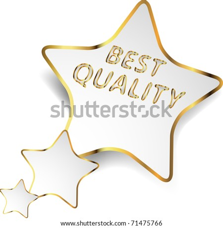 Paper star with gold frame and description - best quality. Vector Illustration. - stock vector