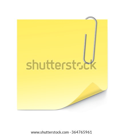 Paper stick note with paperclip isolated on white background. Vector illustration - stock vector