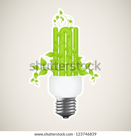 Paper sticker of floral power saving lamp. Vector illustration.