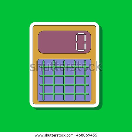 paper sticker on stylish background with electronic calculator