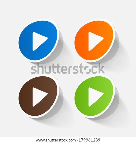 paper sticker: Play button web icon. Isolated illustration icon - stock vector