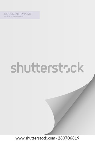 paper sticker with bent corner, illustration. Twelve curved corner on white sheet with realistic shadow. Vector design. Rolled paper template, layout a4 - stock vector