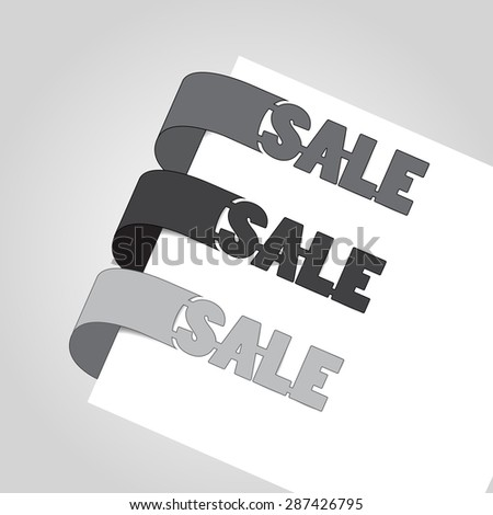 Paper sticker with text sale  - stock vector