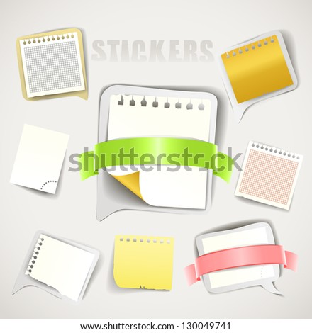 Paper stickers with ribbons collection - stock vector