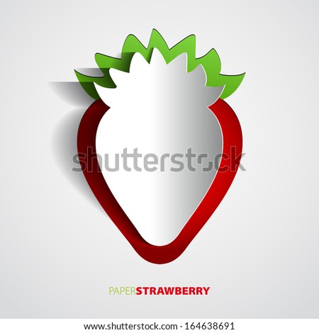 Paper strawberry cutout - vector illustration design card - EPS10 - stock vector