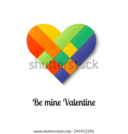 Paper stripe weaving color heart. Vector illustration. - stock vector