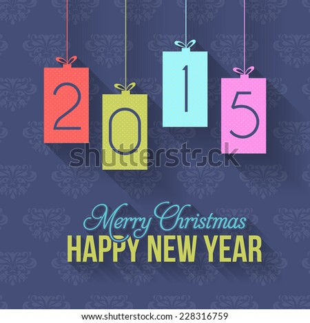 Paper Style 2015 Christmas Happy New Year Hanging Badge on Blue Wallpaper  - stock vector