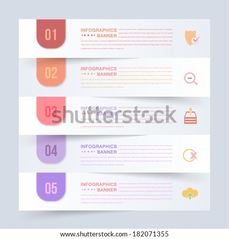 Paper Style Infographics Template and Web Elements - stock vector