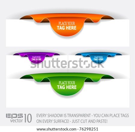 Paper Stylish tags with TRANSPARENT shadows. You can place it on every surface! - stock vector