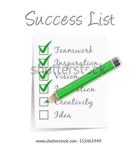 paper Success check list with green pencil isolated on white background - stock vector
